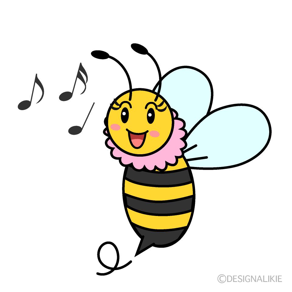 かわいい歌う女の子蜂のイラスト素材 Illustcute