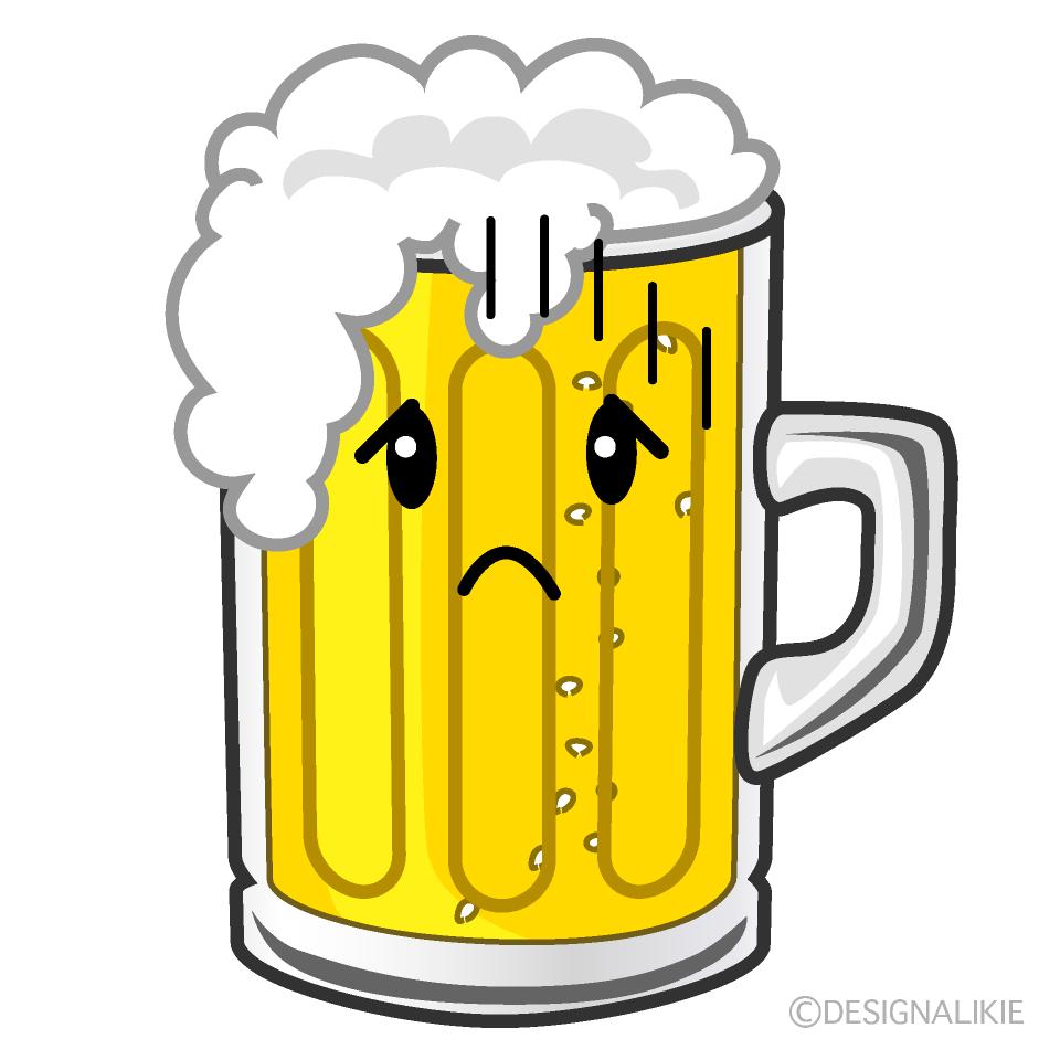 かわいい落ち込むビールのイラスト素材 Illustcute