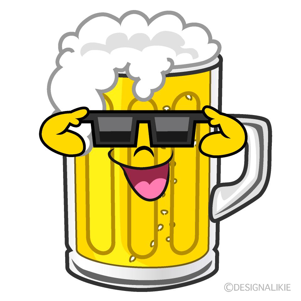 かわいいサングラスのビールのイラスト素材 Illustcute