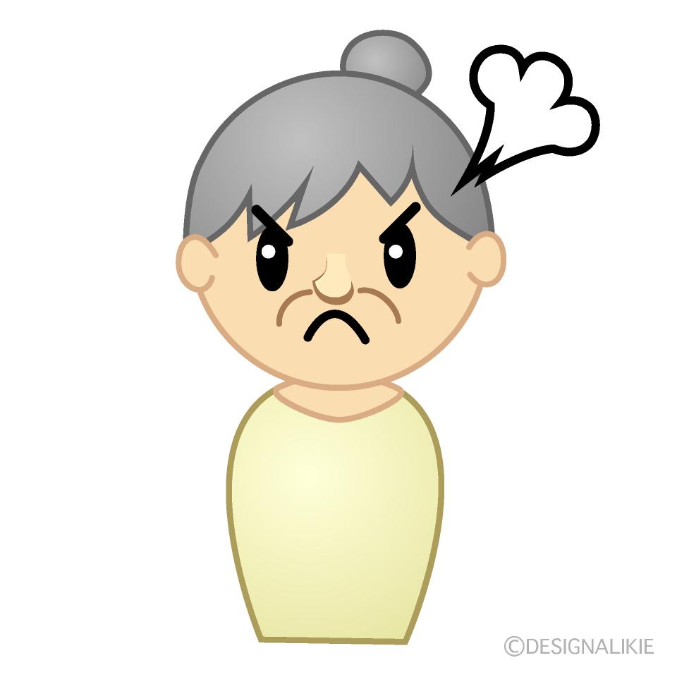 怒るおばあちゃんのかわいいイラスト素材 Illustcute