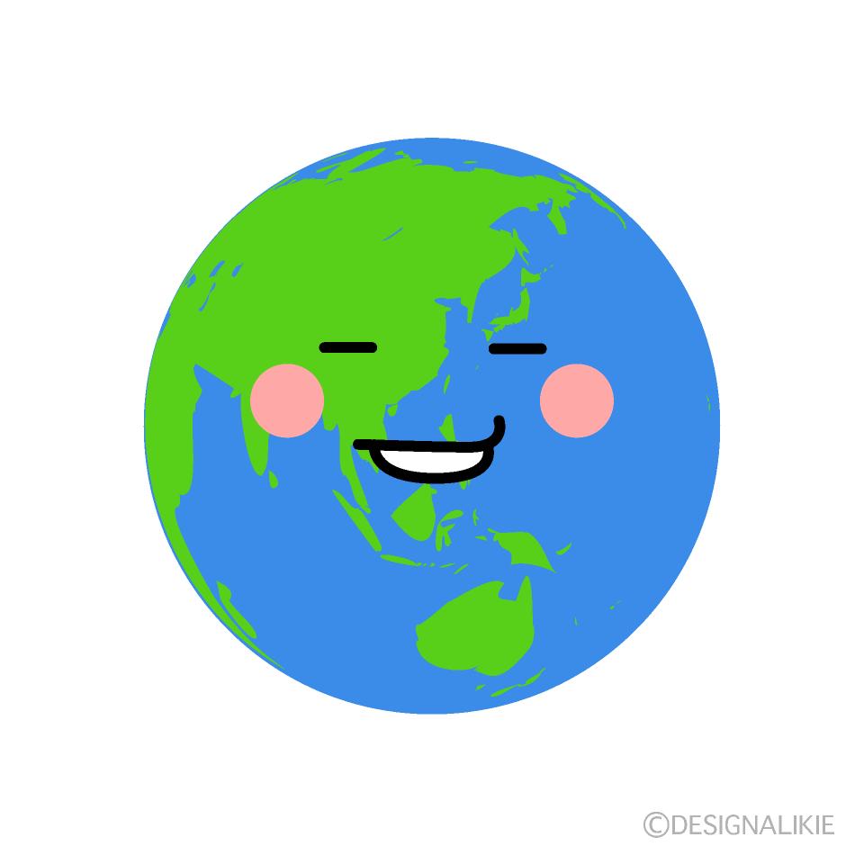 かわいいニヤリする地球のイラスト素材 Illustcute