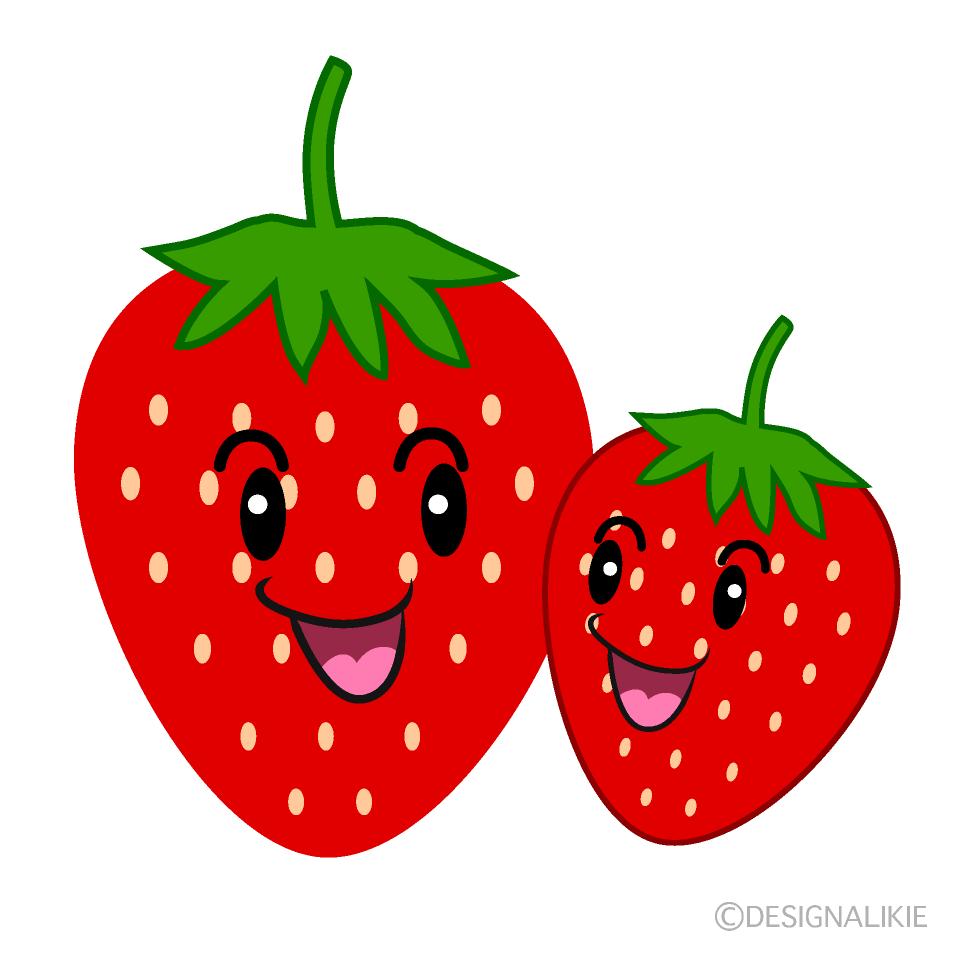 かわいいイチゴの親子のイラスト素材 Illustcute